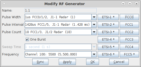 LANforge-GUI RADAR Simulator Configuration Screen